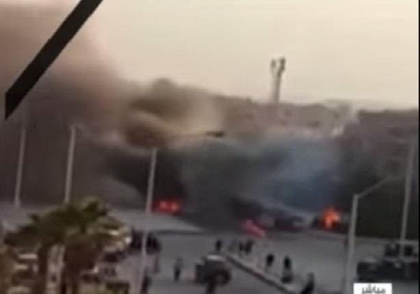 اللقطات الأولى لانفجار عبوتين ناسفتين داخل سيارة ملاكي بالقرب من قسم ثان أكتوبر