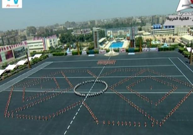 خريجو الكلية الحربية يستعرضون مهاراتهم العسكرية امام الرئيس السيسي