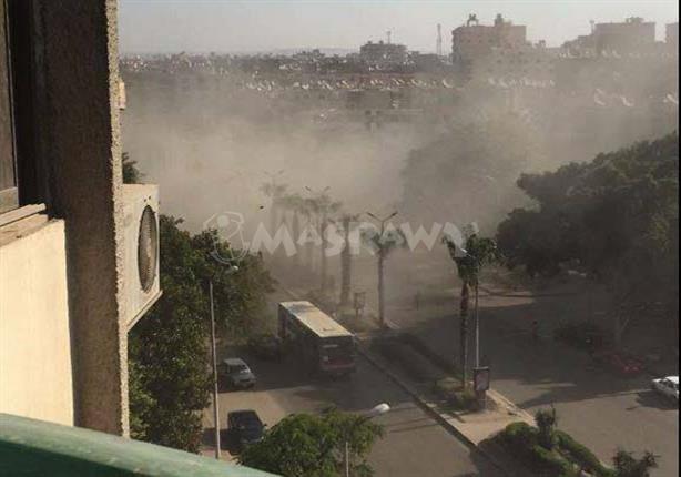 الصور الأولى لموقع انفجار عبوة ناسفة في كمين أمني بشارع الهرم