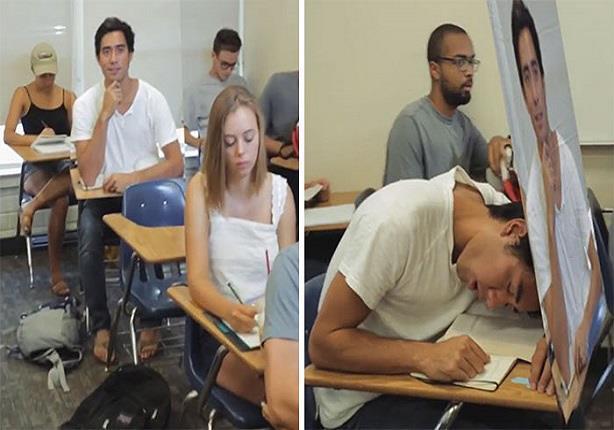 بالفيديو.. طالب يلجأ لهذه الحيلة من أجل النوم أثناء المحاضرات!