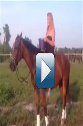 """بالفيديو : حصان يعاقب فتاه فى تجربة """"تحدى الثلج"""""""