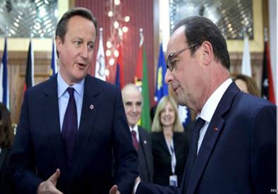 هولاند يدعو برلمان بريطانيا لدعم الغارات على داعش في سوريا