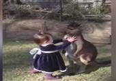 طفلة تحتضن حيوان الكونجو دون خوف