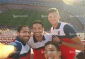لاعبو الأهلي في الكامب نو لحضور مباراة برشلونة ومالاجا