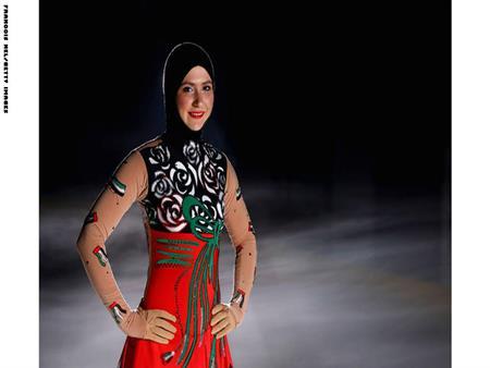 بالصور.. زهراء لاري.. أول امرأة محجبة تتزلج على الجليد في المحافل العالمية