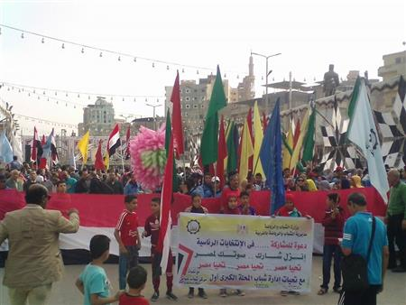 """بالصور.. مسيرات عمالية بالمحلة احتفالًا بفوز """"السيسي"""" في انتخابات الرئاسة"""