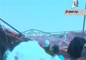 لحظة سقوط خيمة مراسم تشغيل ميناء قسطل البري بين مصر والسودان
