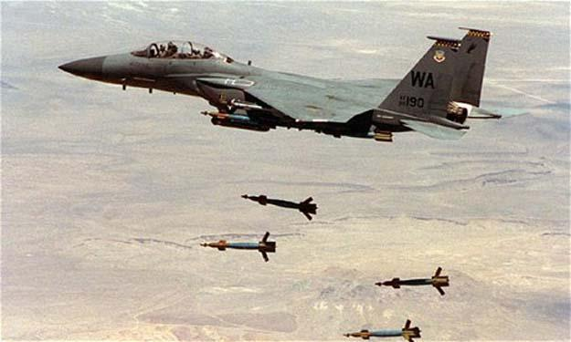 التليجراف تنشر صور لحظات سقوط القنابل