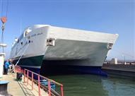 بالصور.. ترسانة بورسعيد البحرية تنتهي من إصلاحات العبارة
