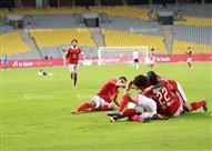 فرحة لاعبي النادي الأهلي بالهدف الثاني بمرمى الزمالك