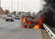"""بالفيديو.. احتراق سيارة """"رولز رويس"""" في أحد شوارع الرياض"""