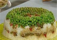 """طريقة عمل """"قالب الأرز باللحم والبازلاء """""""