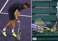 لاعب كرة تنس يخرج عن شعوره ويحطم أربعة مضارب