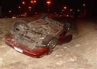 """إصابة 3 أشخاص إثر انقلاب سيارة بـ """"صحراوي الإسماعيلية"""""""