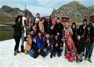 """بالصور- سمية الخشاب وبيومي فؤاد يسافران لبنان للتزلج على الثلج  في """"الحلال"""""""