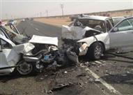 """إصابة 3 أشخاص إثر اصطدام 4 سيارات أعلى """"دائري السلام"""""""