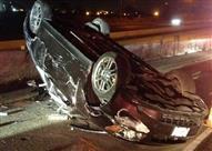 إصابة شخصين في انقلاب سيارة ملاكي بالصف