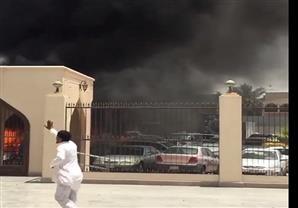 لحظة تفجير انتحاري عند مسجد الإمام حسين في حي العنود بالدمام