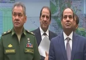 لحظة وصول الرئيس السيسى لزيارة مركز قيادة الدفاع القومي لروسيا