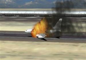 بالفيديو - اشتعال النيران بطائرة سنغافورية بعد هبوط اضطراري لها