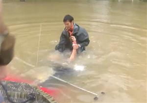 بالفيديو - انقاذ سيدة عجوز قبل الغرق داخل سيارتها