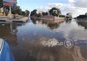 إنقاذ محيط نادي الجامعة ببورفؤاد من الغرق (صور)