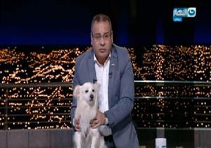 """جابر القرموطي يظهر الهواء بجوار """"كلب"""" على الهواء-فيديو"""
