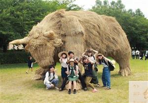 بالصور.. طلاب يابانيون يحتفلون بتحويل قش الأرز لحيوانات عملاقة