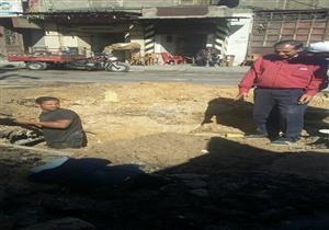 بالصور- أعمال إصلاح لهبوط أرضي بـ3 مناطق غرب الإسكندرية