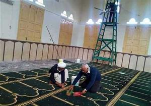 بالصور- مسجد الروضة يستعد لاستقبال المصلين غدًا