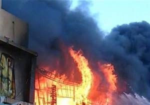 إخماد حريق بمحطة وقود أهلية وإصابة مالكها في بني سويف