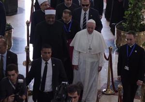 لحظة وصول بابا الفاتيكان لمشيخة الأزهر -فيديو