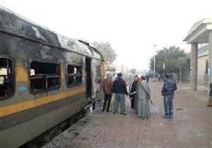 إخماد حريق بجرار قطار في محطة مصر