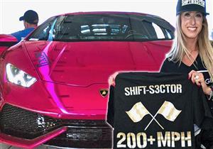 بالفيديو.. سيدة تحقق رقم قياسي في السرعة بسيارة لامبورجيني هوراكان