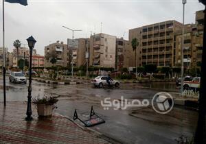 بالصور.. أمطار غزيرة ورياح شديدة في بورسعيد