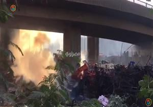 لحظة اندلاع حريق بمخزن تابع لحي الهرم أسفل دائري المريوطية
