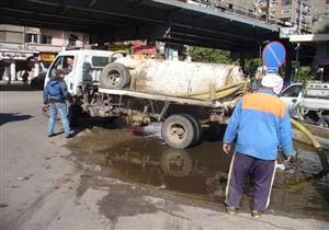 بالصور.. 18 سيارة لشفط مياه الأمطار من شوارع الجيزة