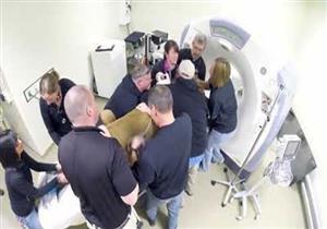 بالفيديو.. أسد يجري فحصًا طبيًا داخل جهاز رنين مغناطيسي