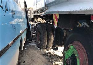إصابة 35 طالبا في تصادم أتوبيس بسيارة نقل بالإسماعيلية
