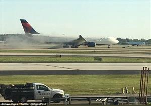 """""""الحادث الثاني خلال 48 ساعة"""".. اشتعال النيران في طائرة بمطار اتلانتا"""