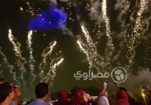 الألعاب النارية تشعل سماء التجمع الخامس احتفالًا بفوز السيسي- صور