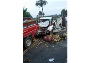 بالصور.. مصرع وإصابة 12 شخصًا في حادث تصادم سيارتين بمنشاة القناطر