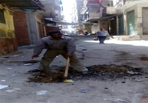 إصلاح هبوط أرضي بشارع المناشي غرب الإسكندرية