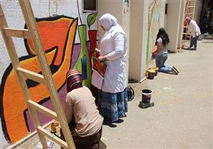 تدشين مبادرة لتجميل أسوار جامعة عين شمس - صور