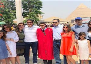 بالصور.. حفل تخرج حفيد مبارك أمام الأهرام بحضور علاء وجمال