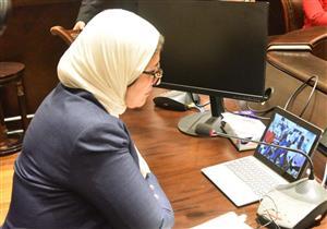 """عبر """"الفيديو كونفرانس"""".. """"زايد"""" تطمئن على أحوال المصريين بالحجر الصحي"""