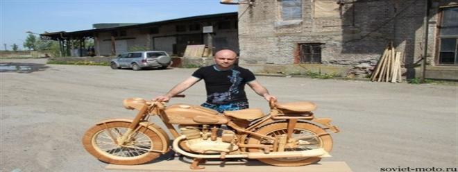 دراجة نارية مصنوعة من الخشب فقط (صور)