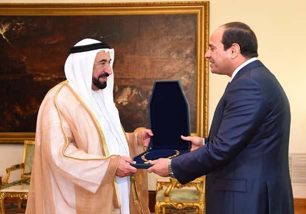 السيسي يستقبل حاكم الشارقة الشيخ سلطان القاسمي