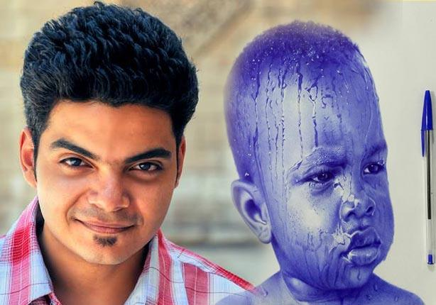 بالفيديو والصور - مصطفى خضير يرسم لوحات بديعة بـ ''قلم جاف''