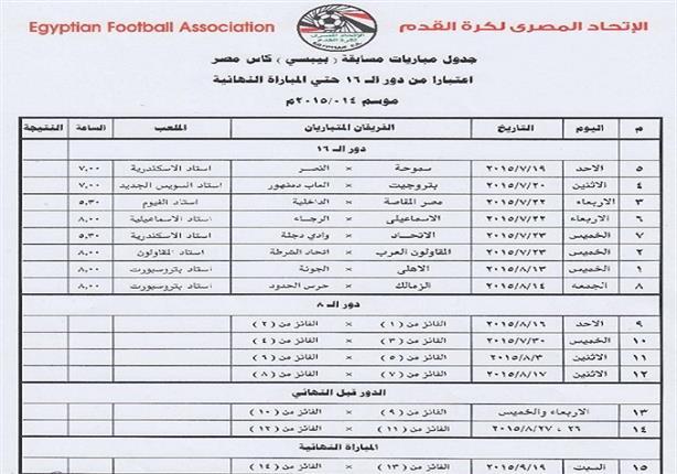 تعرف على مواعيد مباريات كأس مصر والنهائي 19 سبتمبر مصراوى